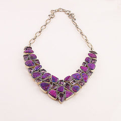 Amethyst and Purple Turquoise Sterling Silver Necklace - Keja Designs Jewelry