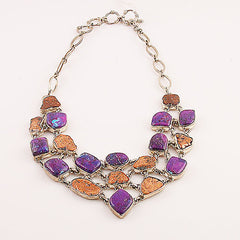 Copper and Purple Turquoise Sterling Silver Necklace - Keja Designs Jewelry
