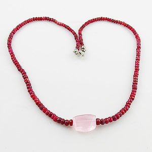Ruby & Rose Quartz Sterling Silver Necklace - Keja Designs Jewelry