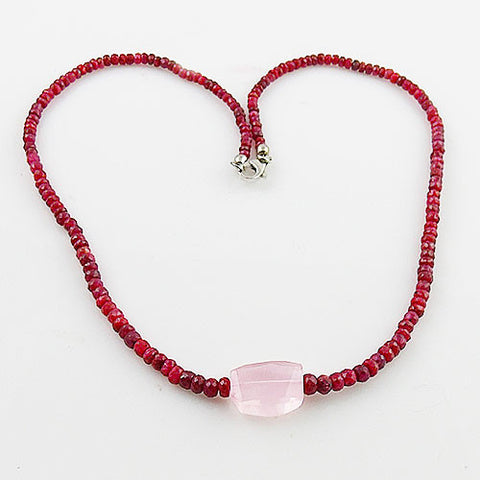 Ruby & Rose Quartz Sterling Silver Necklace