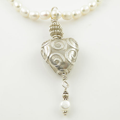 Heart & Pearl -  Swirl of Love - Necklace - Keja Designs Jewelry