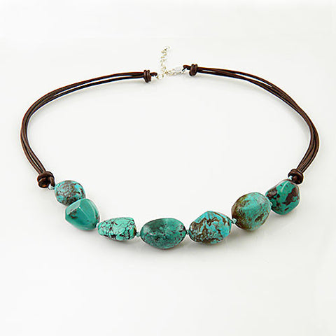 Turquoise Nugget Brown Leather Necklace