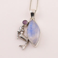 Amethyst & Moonstone Mermaid Sterling Silver Pendant - Keja Designs Jewelry
