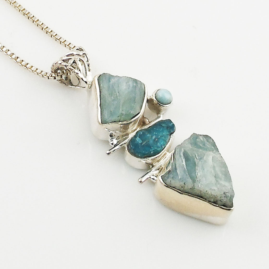 Aquamarine, Apetite Rough &  Larimar Sterling Silver Pendant - Keja Designs Jewelry
