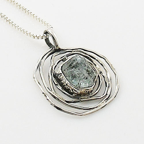 Aquamarine Rough Sterling Silver Nest Pendant - Keja Designs Jewelry