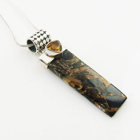 Copper Black Onyx & Citrine Sterling Silver Pendant