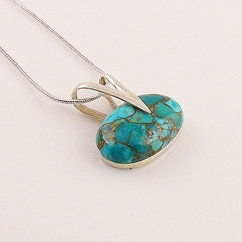 Blue Copper Turquoise Sterling Pendant - keja Jewelry - Keja Designs Jewelry
