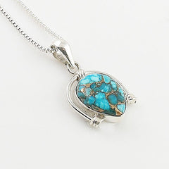 Blue Copper Turquoise Sterling Silver Pendant - keja Jewelry - Keja Designs Jewelry