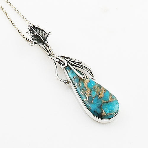 Blue Copper Turquoise Sterling Silver Vine Pendant - Keja Designs Jewelry