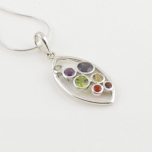 Chakra Marquee Sterling Silver Pendant - Keja Designs Jewelry
