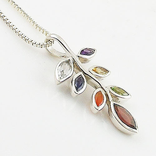 MultiStone Chakra Leaves Sterling Silver Pendnat - Keja Designs Jewelry