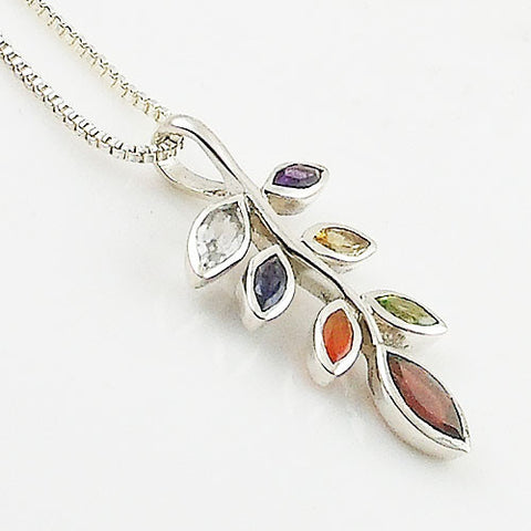 MultiStone Chakra Leaves Sterling Silver Pendnat
