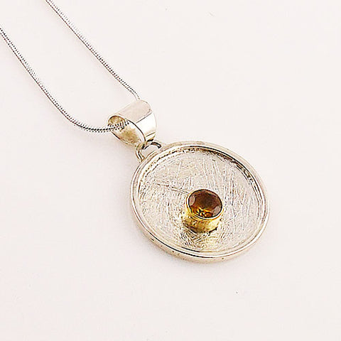 Citrine Two Tone Sterling Silver Pendant