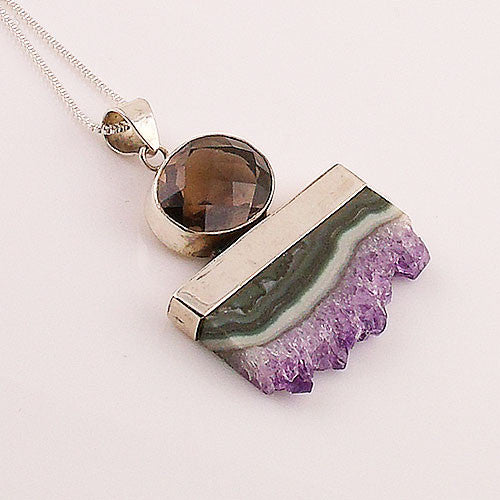Amethyst Cluster & Smoky Quartz Paint Brush Sterling Silver Pendant - Keja Designs Jewelry