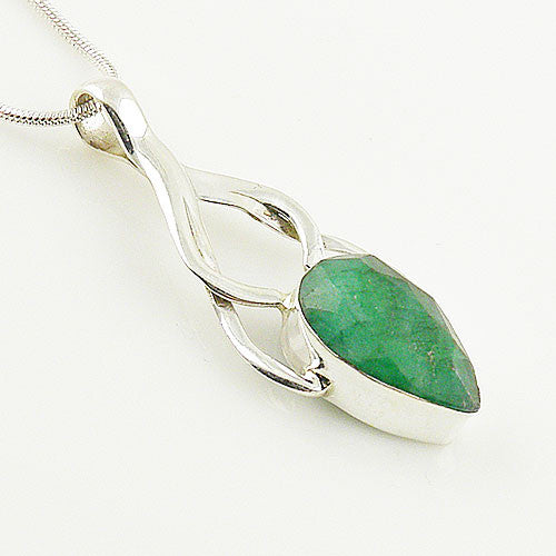 Emerald Sterling Silver Pendant - Keja Designs Jewelry
