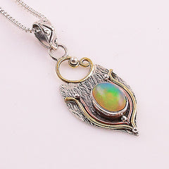Ethiopian Opal Three Tone Sterling Silver Pendant - Keja Designs Jewelry