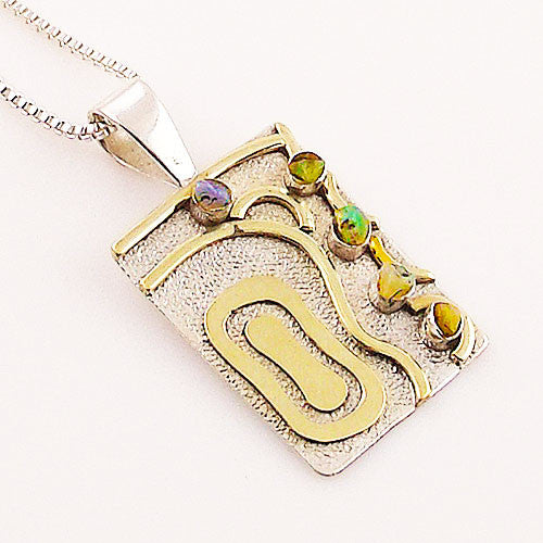 Ethiopian Opal Sterling Silver Two Tone Pendant - Keja Designs Jewelry