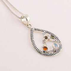 Multi Gemstone Confetti Sterling Silver Pendant - Keja Designs Jewelry
