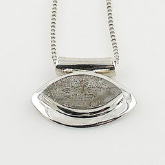 Gibeon Meteorite Sterling Silver East/West Pendant - Keja Designs Jewelry