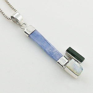 Kyanite Rough Crystal, Moonstone Rough & Green Tourmaline Crystal Sterling Silver Pendant - Keja Designs Jewelry