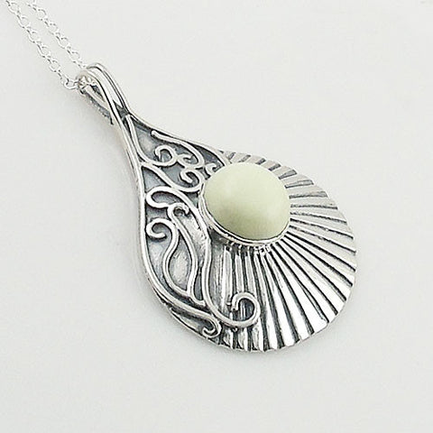 Lemon Chrysoprase Sterling Silver Swirls Pendant - Keja Designs Jewelry