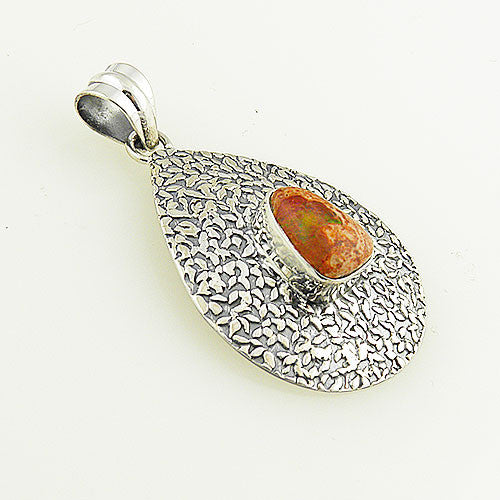Mexican Fire Opal Sterling Silver Pendant - Keja Designs Jewelry