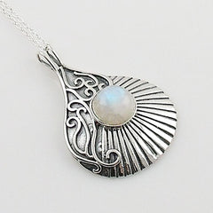 Moonstone Sterling Silver Swirls Pendant - Keja Designs Jewelry