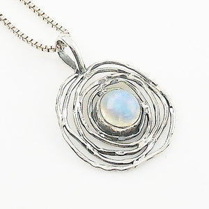 Moonstone Sterling Silver Nest Pendant - Keja Designs Jewelry