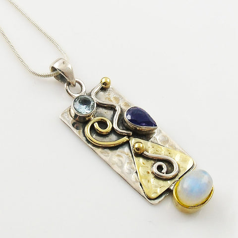 Moonstone, Iolite & Blue Topaz Two Tone Sterling Silver Pendant