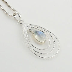Moonstone Sterling Silver Tear Drop Pendant - Keja Designs Jewelry