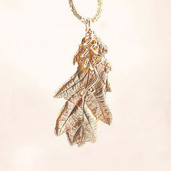 Mighty Oak Leaf Pure Silver Pendant - Keja Designs Jewelry