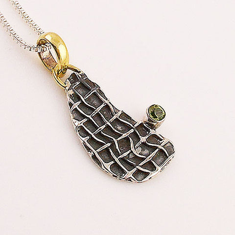 Peridot Two Tone Sterling Silver Mesh Pendant - Keja Designs Jewelry