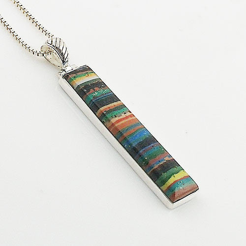 Rainbow Calcilica Sterling Silver Oblong Pendant - Keja Designs Jewelry