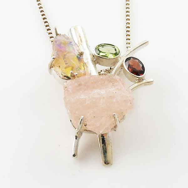 Rose Quartz Rough, Ethiopian Opal Rough, Garnet & Peridot Sterling Silver Pendant - Keja Designs Jewelry