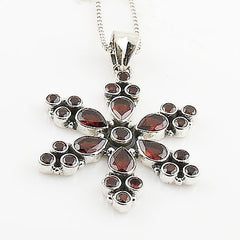 Garnet Sterling Silver Snow Flake Pendant - Keja Designs Jewelry