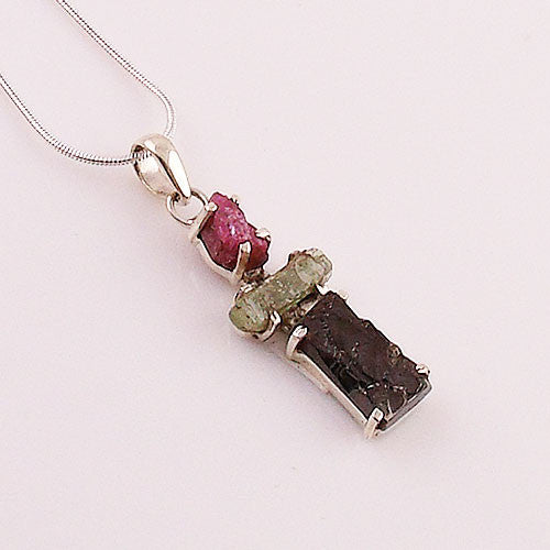 Shungite, Green Kyanite & Pink Tourmaline Sterling Silver Pendant - Keja Designs Jewelry