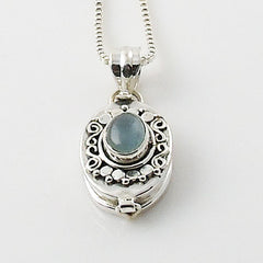 Aquamarine Sterling Silver Poison Pendant - Keja Designs Jewelry