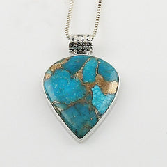 Blue Copper Turquoise Sterling Silver Pendant - Keja Designs Jewelry