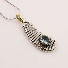 Blue Topaz Sterling Silver Two Tone Pendant - Keja Designs Jewelry