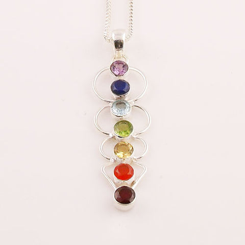 Chakra Blanced Sterling Silver Pendant - Keja Designs Jewelry