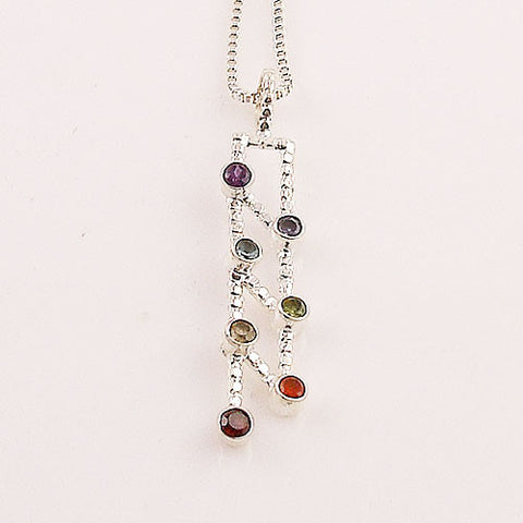 Chakra Ladder Line Sterling Silver Pendant - Keja Designs Jewelry