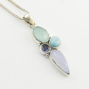 Chalcedony, Larimar, Moonstone Sterling & Iolite Silver Pendant - Keja Designs Jewelry