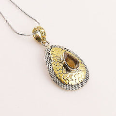 Citrine Two Tone Sterling Silver Pendant - Keja Designs Jewelry