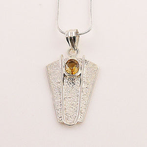 Citrine Sterling Silver Shield Pendant - Keja Designs Jewelry