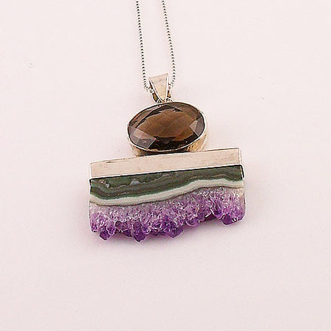 Amethyst Cluster & Smoky Quartz Paint Brush Sterling Silver Pendant