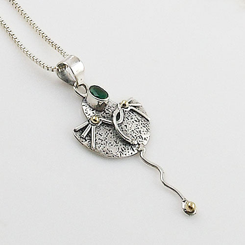 Emerald Sterling Silver Two Tone Pendant - Keja Designs Jewelry