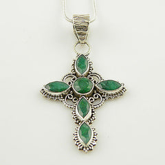Emerald Cross Sterling Silver Pendant - Keja Designs Jewelry