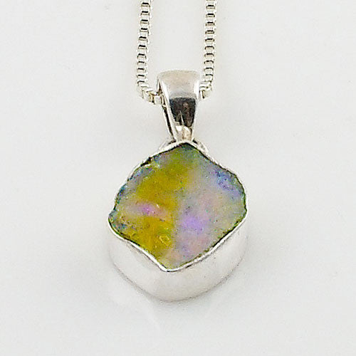 Ethiopian Opal Rough Sterling Silver Pendant - Keja Designs Jewelry
