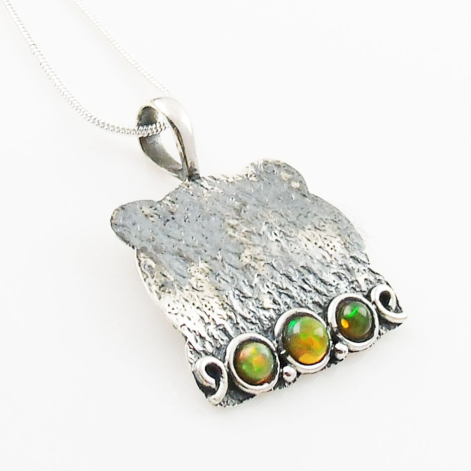 Ethiopian Opal Sterling Silver Whimsical Pendant - Keja Designs Jewelry