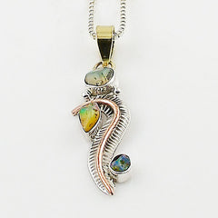 Ethiopian Opal Rough Two Tone Sterling Silver Swirl Pendant - Keja Designs Jewelry